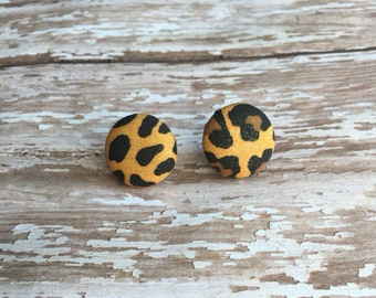 Cheetah earrings, fabric earrings, animal print earrings, wild earrings, cheetah print earrings