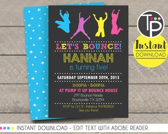 Bounce Party Invitations Pertaminico - Party invitation template: free bounce party invitation template