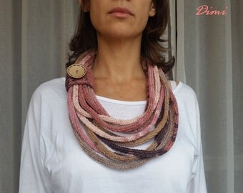 Infinity Scarf, Neckwarmer, Knitted Necklace, Accessory, Handmade, Women's, Multi-color, Boutique, Unique,
