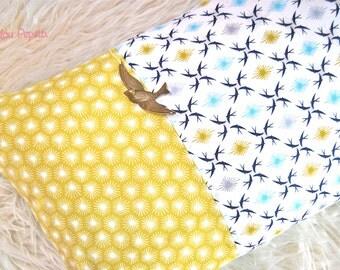 Cushion Scandinavian bio swallows colour turquoise and mustard