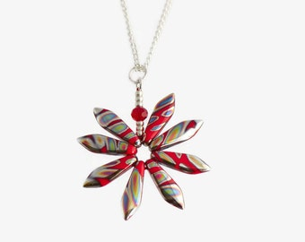 Red Flower Pendant, Funky Daisy Necklace, Bright Fun Jewellery, Silver and Red Flower, Friend Gift Idea, Boho Pendant Necklace