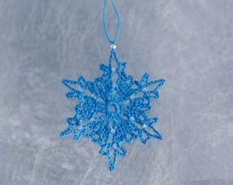 Snowflake Christmas Decoration, Crocheted Tree Ornament, Winter Wedding Decor, Blue Snowflake Ornament, Sparkly Seasonal Decoration
