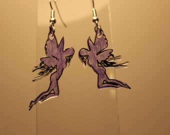 Hand drawn purple fairy earrings