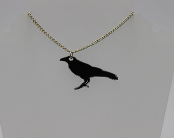 Hand drawn crow pendant