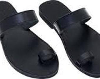 Handmade sandals black total MYKONOS style.