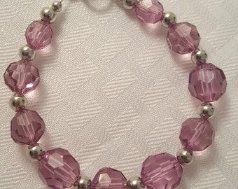 Pale Purple Bracelet - Purple Bracelet - Acrylic Bead Bracelet - Acrylic Bracelet - Silver Bracelet -Women's Bracelet-Women's Purple Jewelry