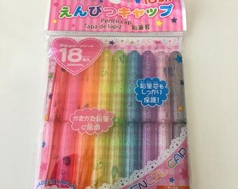 Daiso Pencil cap Rainbow Kawaii collection 18 pieces set