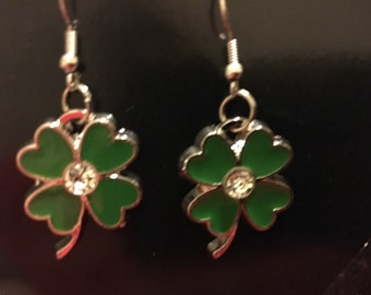 St Patrick's Day Four Leaf Clover Earrings with Rhinestone Center