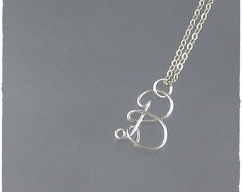 Initial B Wire Word Pendant Necklace Cursive