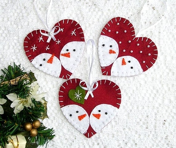 Christmas Ornaments Snowman Decor Felt Ornaments Heart