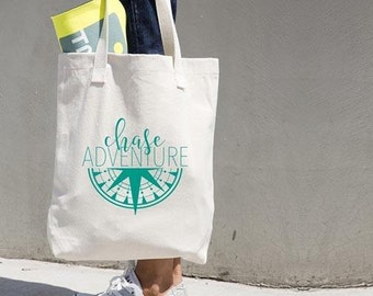Chase Adventure Tote Bag- Adventurer- Travel- Traveling- Gypsy- Wanderer- Compass- Travel Tote- Canvas Tote- Gifts for Her