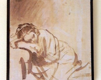 Rembrandt van Rijn,Hendrickje sleeping ,1654,The British Museum,London, England.FREE SHIPPING