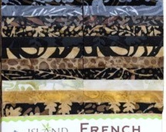 "Island Batik ""French  Roasted"" Strip Set  40 - 2.5 inch strips - jelly roll- blue, brown, black, cream"