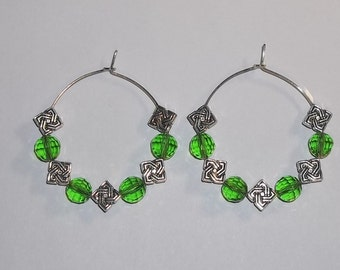 Celtic Knot Green Swarovski Crystal  Hand Crafted  40mm Silver Plated Hoop Earrings