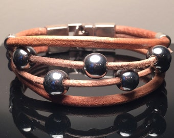 Real Leather & Semi-precious beaded bracelet