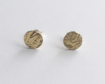 MEADOW STUDS - Brass Circle Stud Earrings - Hammered Studs - Small Flat Circle Studs