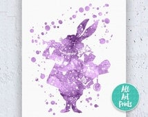 White Rabbit Alice in Wonderland Decorations Disney Print Watercolor Printable White Rabbit Print White Rabbit Art Instant Download