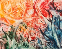 Encaustic 17, original, handmade wax painting, abstract on card