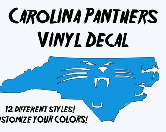 Carolina Panthers Vinyl Decal - 2 Colors - 6 inches