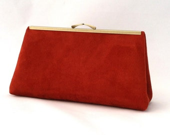 Stunning Burnt Orange Suede Handbag ~ Burnt Orange Suede Clutch