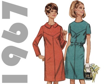 1960s Shift Dress SIMPLICITY 7397 sz 14.5 b 35 1960s Mod Dress V-yoke Dress 1960s Dress Pattern Vintage Dress Mad Men Dress 60s Dress