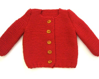 Red pure wool Cardigan