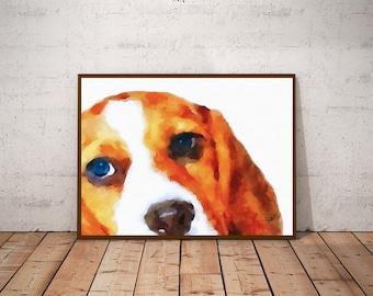 Beagle Art Print Dog Wall Art - Watercolor Beagle Dog Art Print - Beagle Portrait Gift Print