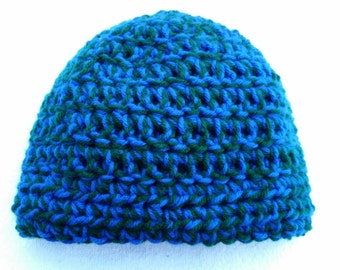 Adult Crochet Winter Hat in Royal Blue & Forest Green