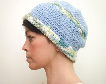 Adult Knit Hat (Blue, Green, White)