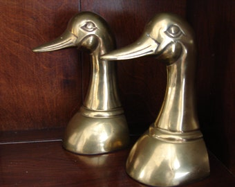 Distinguished Brass Duck Bookends, Ducks, Mid Century, Mad Men, Book Ends, Duck, Duck Heads, Office Decor, Library, Bookshelf, Bookcase