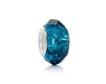 Teal Faceted Glass European Big Hole Charm Bead