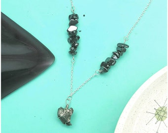 Meteorite necklace with hematite on silver chain