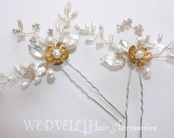 Hair Pin for Wedding, with Crystal & Pearls