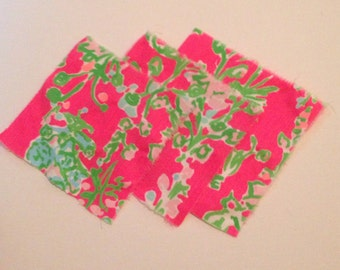 Pink SOUTHERN CHARM Lilly Pulitzer fabric square set Lilly patch 5x5 6x6 monogram greek letters