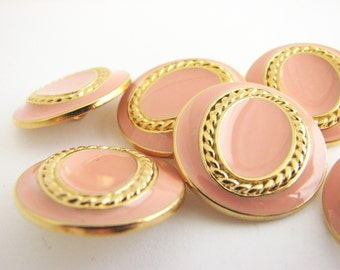 6 Salmon pink nautical buttons, gold tone metal buttons with enamel finish, unused!