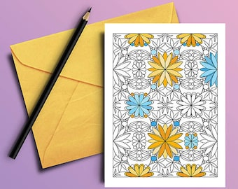 Colouring Page Flower Power Pattern