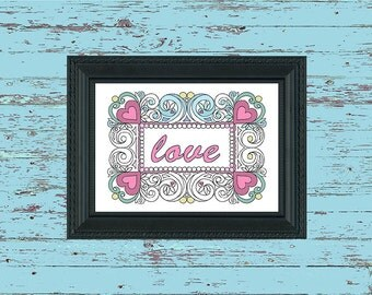 Adult Colouring Page Heart Frame with Text
