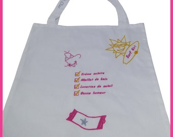 Beach bag / Tote Bag with embroidery