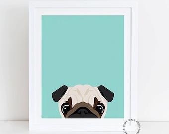 Pug Print, Dog Print, Puppy Print, Dog Poster, Home Decor, Wall Art,Nursery, Nursery Decor, Kids Wall Art, Printable, Decor Animals