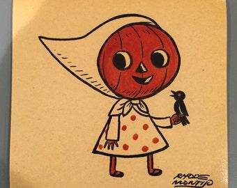 Vintage Style Halloween 8 x 8 inch PRINT by Rhode Montijo- CROW KEEPER