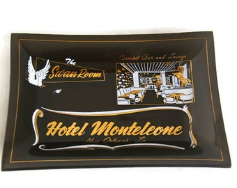 Mod Black Glass Tray - Vintage Tray - Hotel Monteleone - Bent Glass Tray - Souvenir Tray - Decorative Tray - Vintage Serving Tray - MCM Tray
