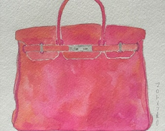 Birkin original watercolor©, gift under 100, Birkin painting, fashion illustration