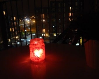 Hand Painted Candle Holder Jars - Heart Pattern