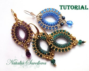 Blue Earrings, Beading Pattern PDF, Instant Download