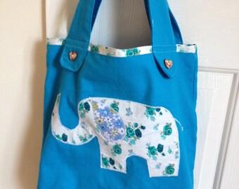Linen elephant applique tote bag