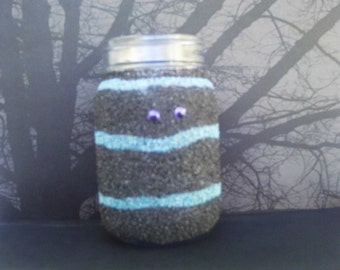 Monster jar, Monster coin jar, Monster candy jar, Monster night light, Monster party favor, Striped monster, Blue striped monster