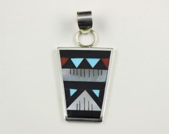 Native American Zuni Inlay .925 Sterling Silver Pendant By Leander Othole