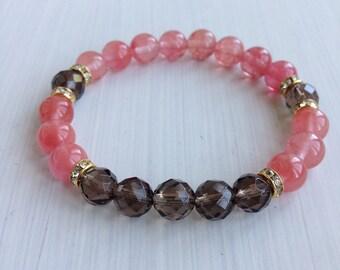 CLEARANCE 40% OFF! - Smokey Quartz and Cherry Quartz Rhinestone Beaded Bracelet, Gemstone Beaded Bracelet