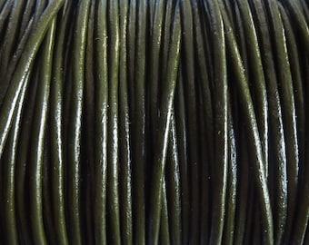 40 meters dark khaki leather cord 2 mm PR0600