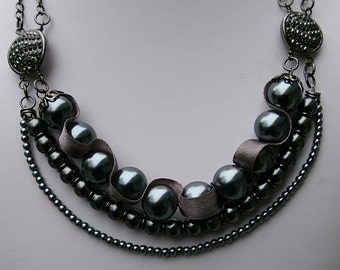 Gray Glass Bead Multi-strand Necklace | Statement Necklace | Chic Necklace | Fashion Necklace | Layered Necklace | Dark Gray Necklace | Gift